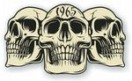 Vintage Biker 3 Gothic Skulls Year Dated Skull 1965 Cafe Racer Helmet Vinyl Car Sticker 120x70mm
